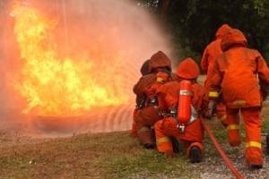 Firemen working as a team
