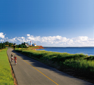 Cycling in Panmure Island Provincial Park, Prince Edward Island, Canada.