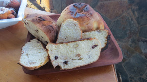 Sweet rustic bread with almonds and dried fruits including figs