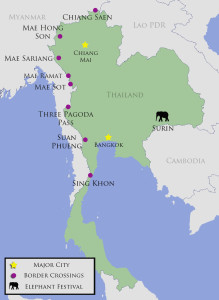 Border crossings known for illegal trade in wildcaught elephants