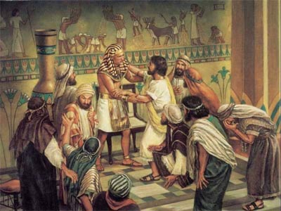 Fig  5.  Joseph and his brothers meet with pharaoh. In reality, Joseph was said to have been the prime minister  of Egypt and the high priest of Heliopolis, and so his 'coat of many colours', would have been rather more luxurious than the white tunic depicted here. In fact, it would have looked rather like the flamboyant robes worn by the modern Archbishop of Canterbury.