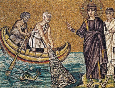 Fig  7.  Jesus goes fishing for converts to the veneration of the Age of Pisces . Mosaic from the Church of St Apollinare, Ravenna, Italy.