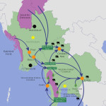Trade route map for wild elephants trafficked in Thailand and Myanmar