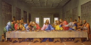Fig  5.1  The Last Supper painting by Giacomo Raffaelli, a copy of Leonardo da Vinci's famous Last Supper mural. In reality this table was a round Arthurian-style table.