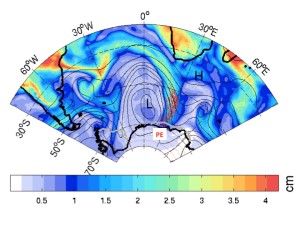A meteorological image of an atmospheric river slamming into the East Antarctic coast on 15 February 2011. L indicates the atmospheric river's low-pressure trough and H indicates the blocking high-pressure ridge further downstream, directing moisture transport (red arrows) into the Dronning Maud Land and the Princess Elisabeth base (white square). The colours show total moisture amounts (in centimetres equivalent of water). Figure courtesy: Irina Gorodetskaya.