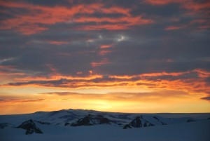 East Antarctica, near the Princess Elisabeth base. This photograph, taken in February 2011 shortly after a storm had passed, shows the dramatic cloud structures that can accompany snowstorms in Antarctica. Photo courtesy: Irina Gorodetskaya