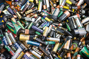 Used batteries, close-up, full frame