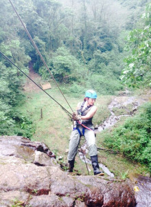 Rappelling at the waterfall